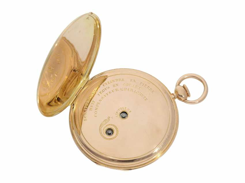 Pocket watch: very fine, almost mint-preserved Lepine, with stone cylinder, temperature compensation, and repeater signed Breguet, No. 577, Paris, around 1830 - photo 4