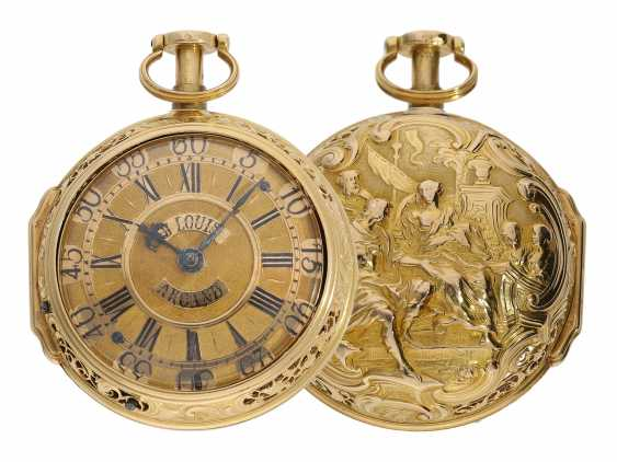 "Pocket watch: very fine double housing-spindle pocket watch with quarter-hour repeater 20K repair, replace-case ""Telemachus with Calypso,"" Jean Louis Argand, of Geneva & Paris, circa 1725 - photo 1"
