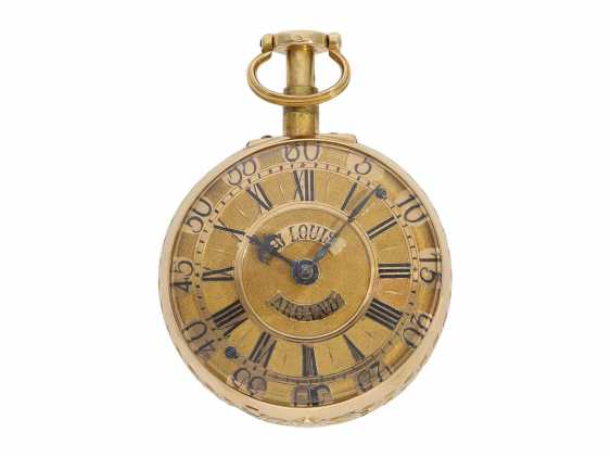 "Pocket watch: very fine double housing-spindle pocket watch with quarter-hour repeater 20K repair, replace-case ""Telemachus with Calypso,"" Jean Louis Argand, of Geneva & Paris, circa 1725 - photo 3"
