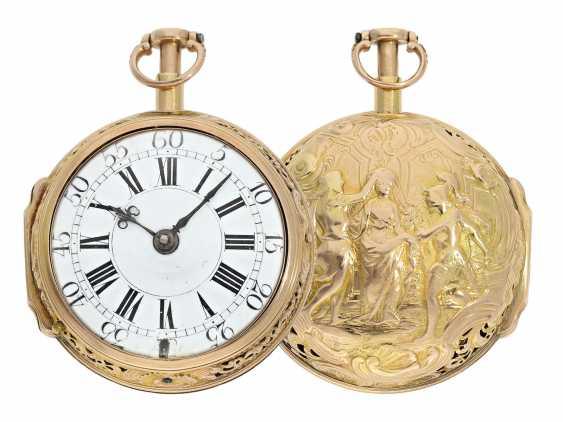 Pocket watch: interesting, süddeutsche repair, replace, double-housing Spindeluhr with 1/8-strike on bell, signed Reckurnab London (Nabburg at Nuremberg), CA. 1730 - photo 1