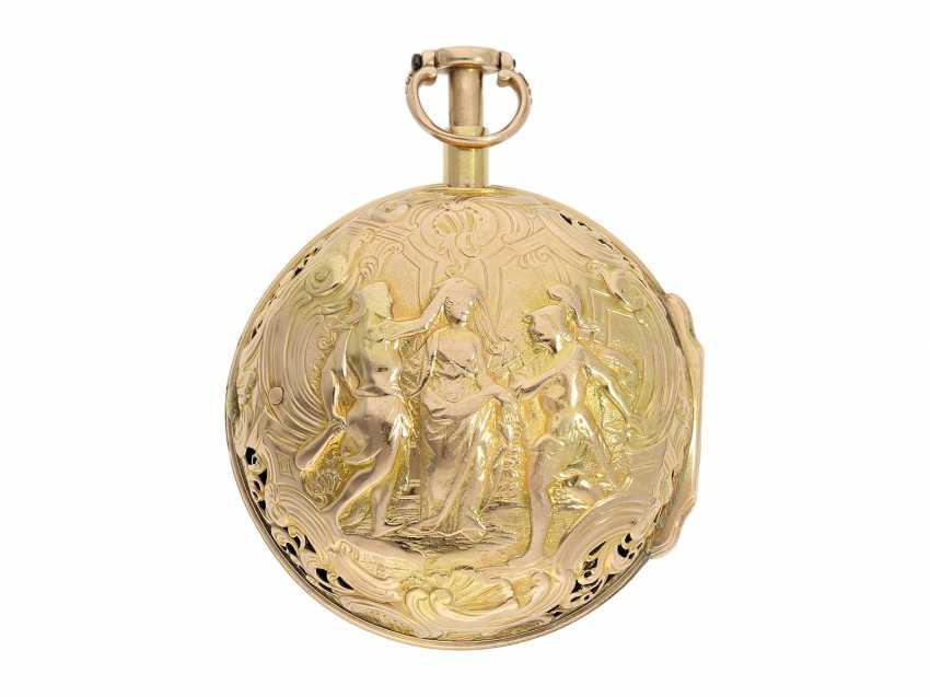 Pocket watch: interesting, süddeutsche repair, replace, double-housing Spindeluhr with 1/8-strike on bell, signed Reckurnab London (Nabburg at Nuremberg), CA. 1730 - photo 2