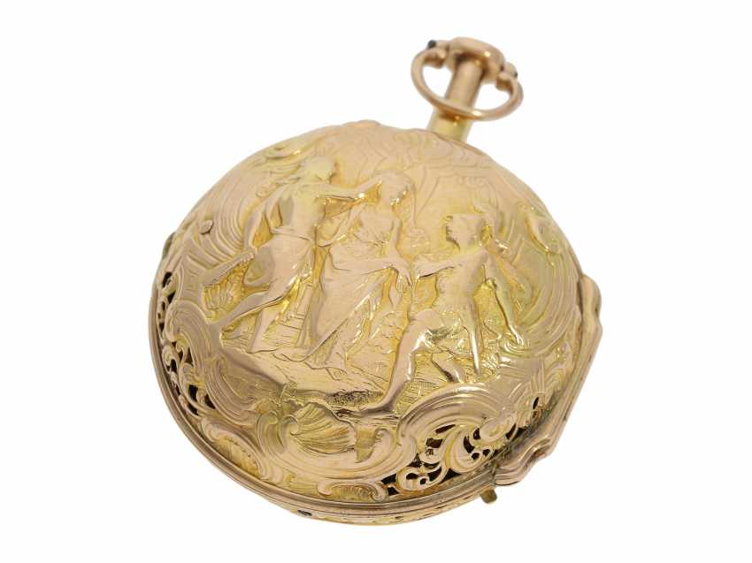 Pocket watch: interesting, süddeutsche repair, replace, double-housing Spindeluhr with 1/8-strike on bell, signed Reckurnab London (Nabburg at Nuremberg), CA. 1730 - photo 3