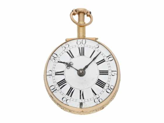 Pocket watch: interesting, süddeutsche repair, replace, double-housing Spindeluhr with 1/8-strike on bell, signed Reckurnab London (Nabburg at Nuremberg), CA. 1730 - photo 5