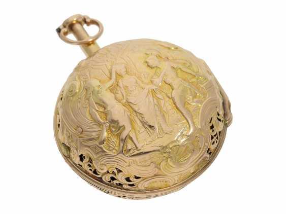Pocket watch: interesting, süddeutsche repair, replace, double-housing Spindeluhr with 1/8-strike on bell, signed Reckurnab London (Nabburg at Nuremberg), CA. 1730 - photo 12