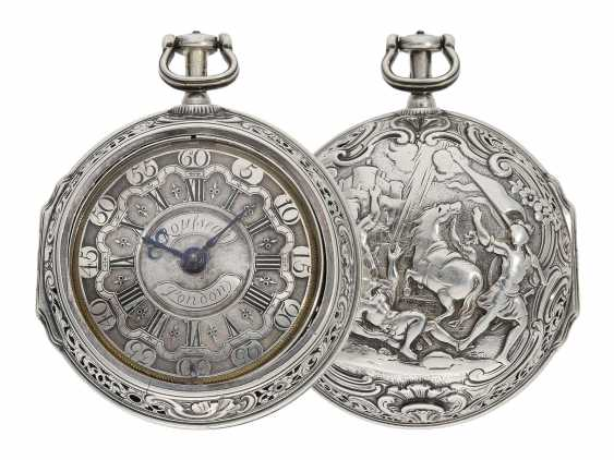 Pocket watch: fine, large double housing-spindle pocket watch with rare eighth repetition and repair, replace outer case, Ja(me)s Rousseau, No. 5155, London, CA. 1740-1750 - photo 1