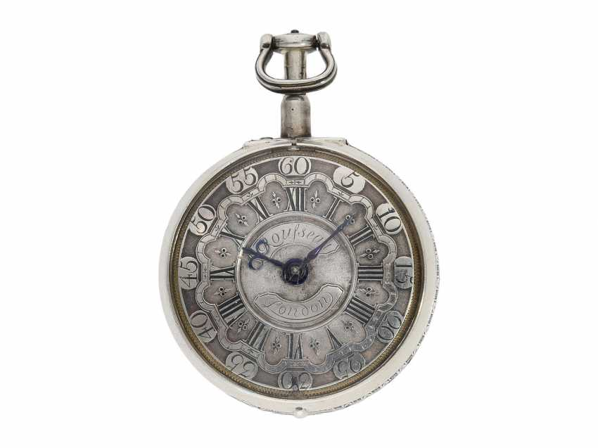 Pocket watch: fine, large double housing-spindle pocket watch with rare eighth repetition and repair, replace outer case, Ja(me)s Rousseau, No. 5155, London, CA. 1740-1750 - photo 2