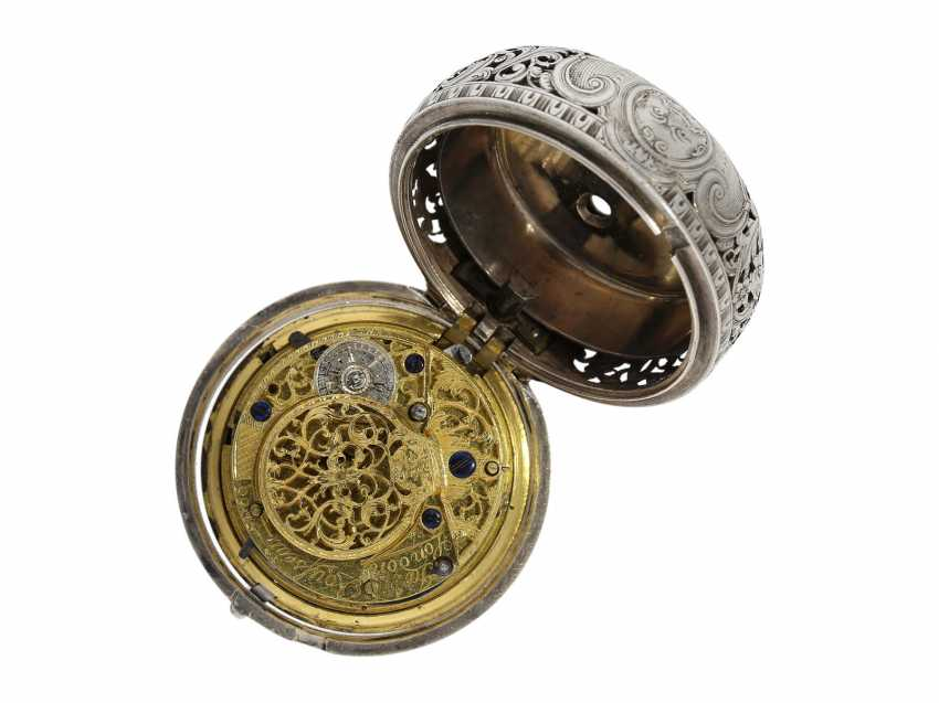 Pocket watch: fine, large double housing-spindle pocket watch with rare eighth repetition and repair, replace outer case, Ja(me)s Rousseau, No. 5155, London, CA. 1740-1750 - photo 4