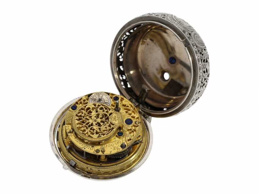 Pocket watch: fine, large double housing-spindle pocket watch with rare eighth repetition and repair, replace outer case, Ja(me)s Rousseau, No. 5155, London, CA. 1740-1750 - photo 5