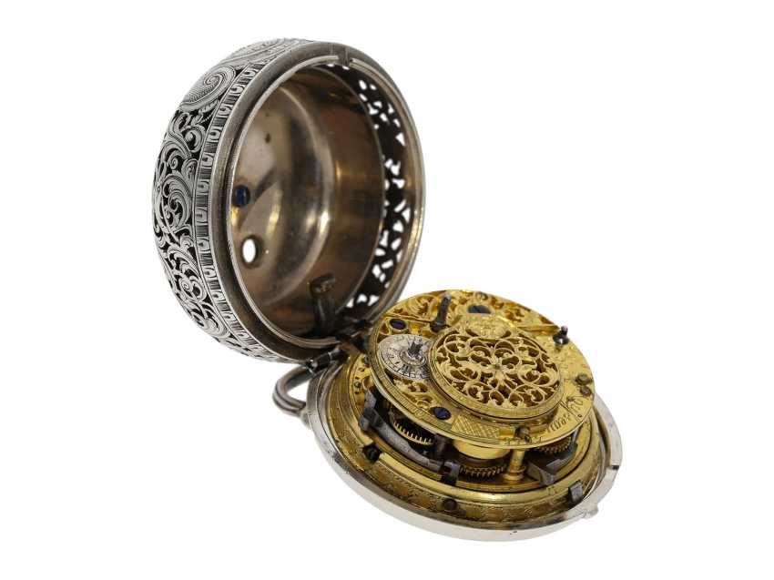 Pocket watch: fine, large double housing-spindle pocket watch with rare eighth repetition and repair, replace outer case, Ja(me)s Rousseau, No. 5155, London, CA. 1740-1750 - photo 6