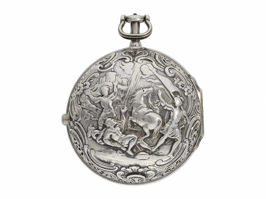 Pocket watch: fine, large double housing-spindle pocket watch with rare eighth repetition and repair, replace outer case, Ja(me)s Rousseau, No. 5155, London, CA. 1740-1750 - photo 9