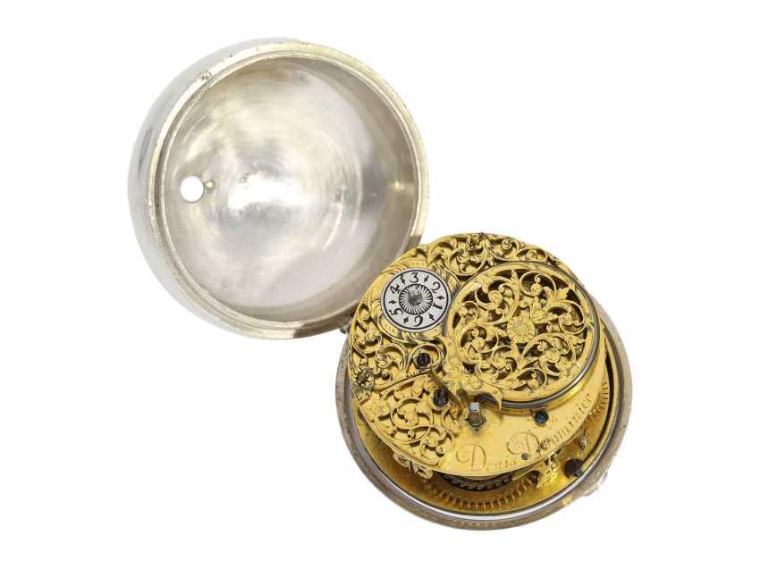 Pocket watch: a Museum einzeigrige Halsuhr with early spiral, Denis Dominice Geneva, CA. 1685 - photo 2