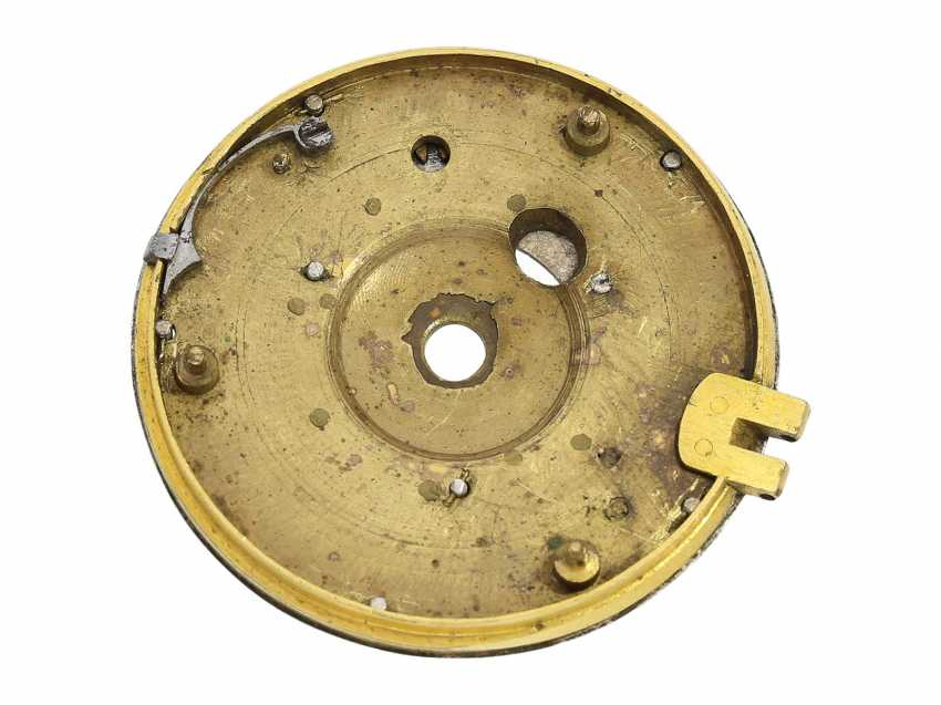 Pocket watch: extremely rare, museale pocket watch with Alarm and a rotating date display via a worm drive, Terroux (François), A Geneva, circa 1690 - photo 7