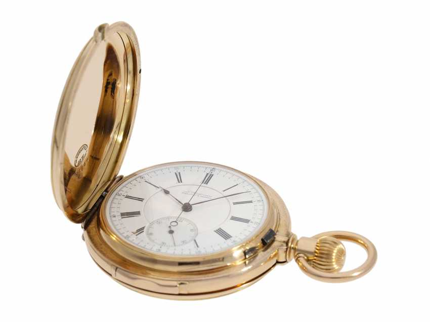 Pocket watch: extremely rare and particularly severe gold savonnette minute repeater and Chronograph, Louis Audemars, No. 13368, CA. 1882 - photo 2