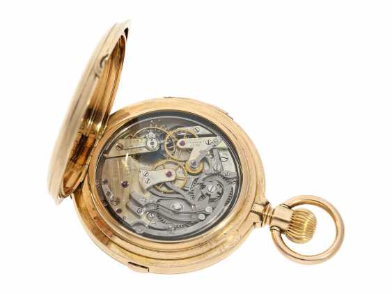 Pocket watch: extremely rare and particularly severe gold savonnette minute repeater and Chronograph, Louis Audemars, No. 13368, CA. 1882 - photo 4