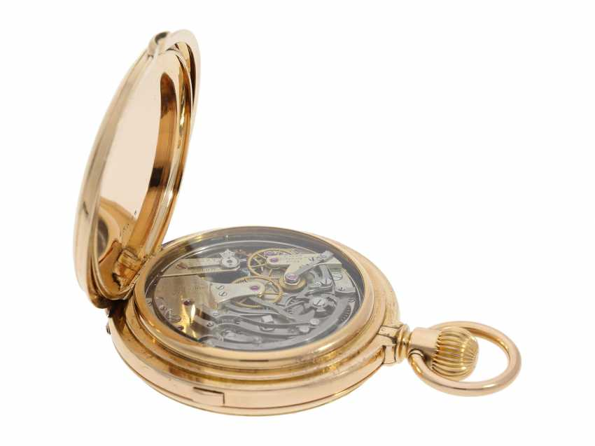 Pocket watch: extremely rare and particularly severe gold savonnette minute repeater and Chronograph, Louis Audemars, No. 13368, CA. 1882 - photo 5