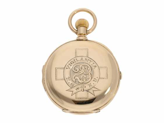 Pocket watch: extremely rare and particularly severe gold savonnette minute repeater and Chronograph, Louis Audemars, No. 13368, CA. 1882 - photo 6