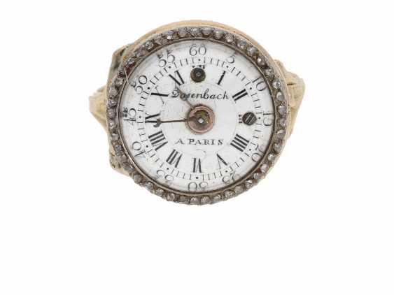 Ring watch: Museum Golden ring watch with diamond trim, Louis XV-dial, original box and original key, Paris, around 1780 - photo 2