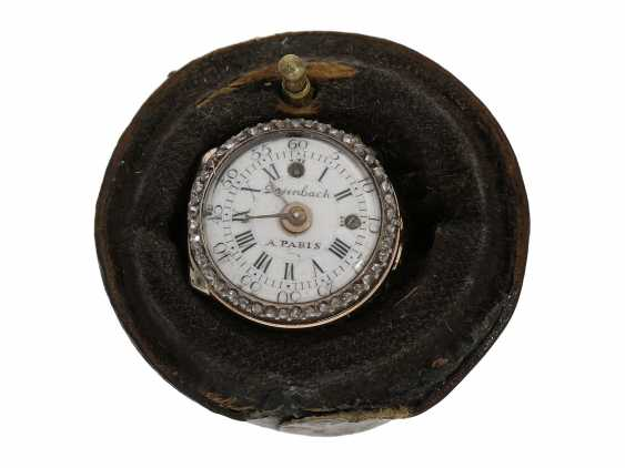 Ring watch: Museum Golden ring watch with diamond trim, Louis XV-dial, original box and original key, Paris, around 1780 - photo 4