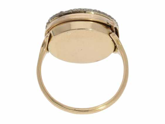 Ring watch: Museum Golden ring watch with diamond trim, Louis XV-dial, original box and original key, Paris, around 1780 - photo 6