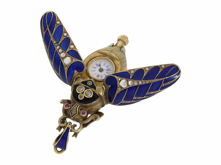 Anhängeuhr/Formuhr: high fine, especially big Gold/enamel scarab with original diamonds, fancy, original, state of preservation, a Museum, a rarity in this embodiment, Geneva, CA. 1870 - photo 1