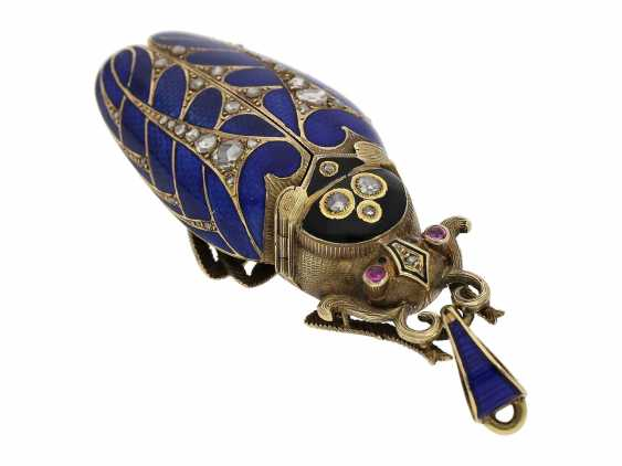 Anhängeuhr/Formuhr: high fine, especially big Gold/enamel scarab with original diamonds, fancy, original, state of preservation, a Museum, a rarity in this embodiment, Geneva, CA. 1870 - photo 4