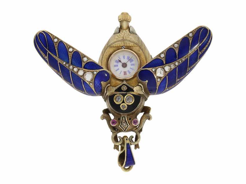 Anhängeuhr/Formuhr: high fine, especially big Gold/enamel scarab with original diamonds, fancy, original, state of preservation, a Museum, a rarity in this embodiment, Geneva, CA. 1870 - photo 6