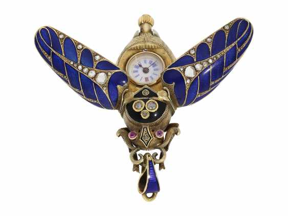 Anhängeuhr/Formuhr: high fine, especially big Gold/enamel scarab with original diamonds, fancy, original, state of preservation, a Museum, a rarity in this embodiment, Geneva, CA. 1870 - photo 7