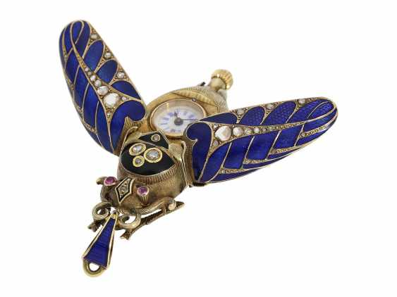 Anhängeuhr/Formuhr: high fine, especially big Gold/enamel scarab with original diamonds, fancy, original, state of preservation, a Museum, a rarity in this embodiment, Geneva, CA. 1870 - photo 9