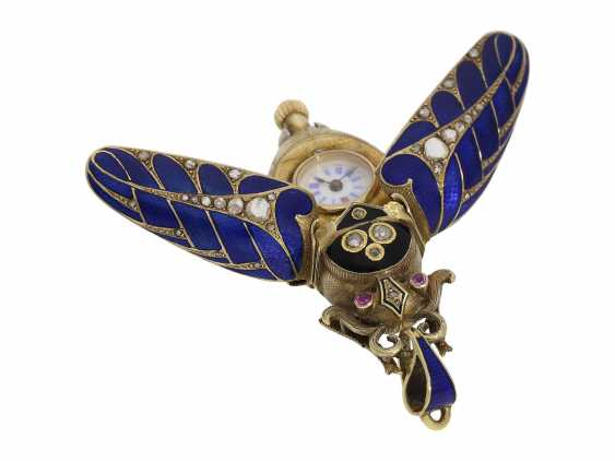 Anhängeuhr/Formuhr: high fine, especially big Gold/enamel scarab with original diamonds, fancy, original, state of preservation, a Museum, a rarity in this embodiment, Geneva, CA. 1870 - photo 10