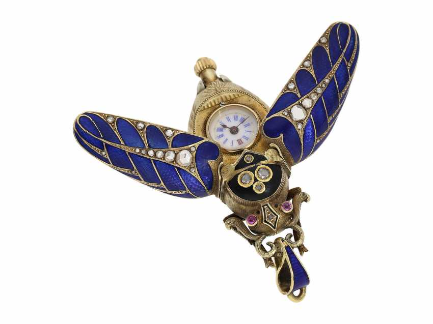 Anhängeuhr/Formuhr: high fine, especially big Gold/enamel scarab with original diamonds, fancy, original, state of preservation, a Museum, a rarity in this embodiment, Geneva, CA. 1870 - photo 11
