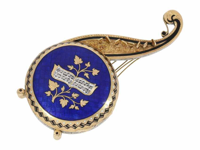 "Formuhr: extremely rare Gold/enamel Formuhr ""The Oriental harp"", probably Vienna, around 1820 - photo 1"