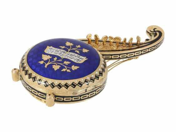 "Formuhr: extremely rare Gold/enamel Formuhr ""The Oriental harp"", probably Vienna, around 1820 - photo 3"