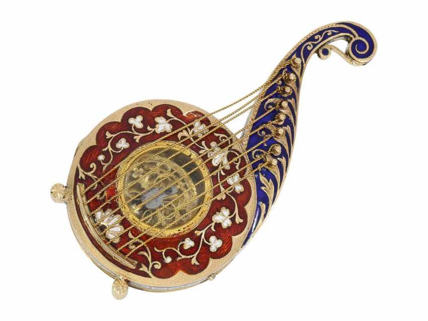"Formuhr: extremely rare Gold/enamel Formuhr ""The Oriental harp"", probably Vienna, around 1820 - photo 4"