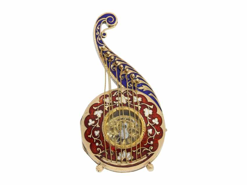 "Formuhr: extremely rare Gold/enamel Formuhr ""The Oriental harp"", probably Vienna, around 1820 - photo 7"