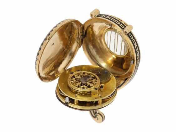 "Formuhr: extremely rare Gold/enamel Formuhr ""The Oriental harp"", probably Vienna, around 1820 - photo 9"