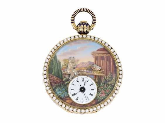 Pocket watch: extremely precious Gold/enamel pocket watch, with beads appliqué, music, figure, machine, hidden erotic scene, and Central second, probably Piguet & Meylan, Geneva for the Chinese market, CA. 1810 - photo 1