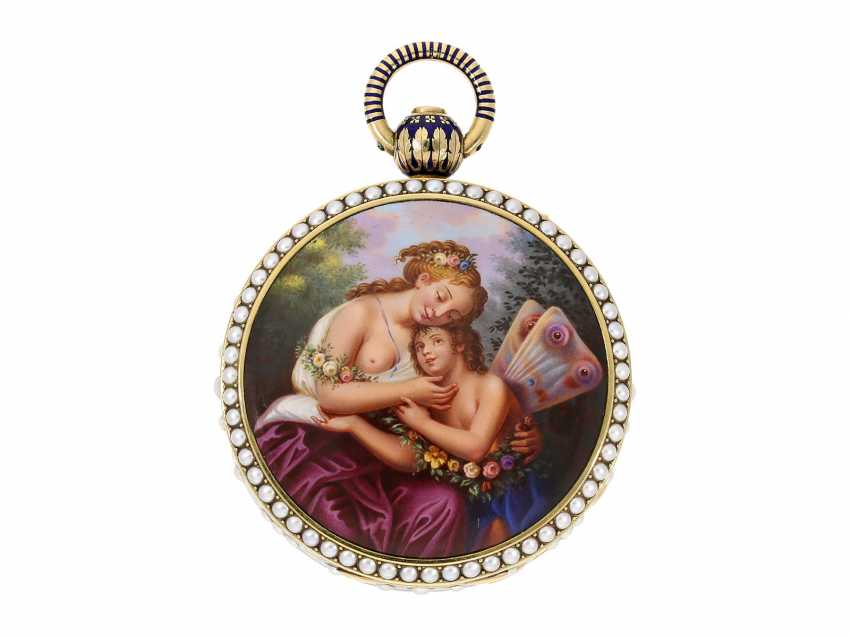Pocket watch: extremely precious Gold/enamel pocket watch, with beads appliqué, music, figure, machine, hidden erotic scene, and Central second, probably Piguet & Meylan, Geneva for the Chinese market, CA. 1810 - photo 3