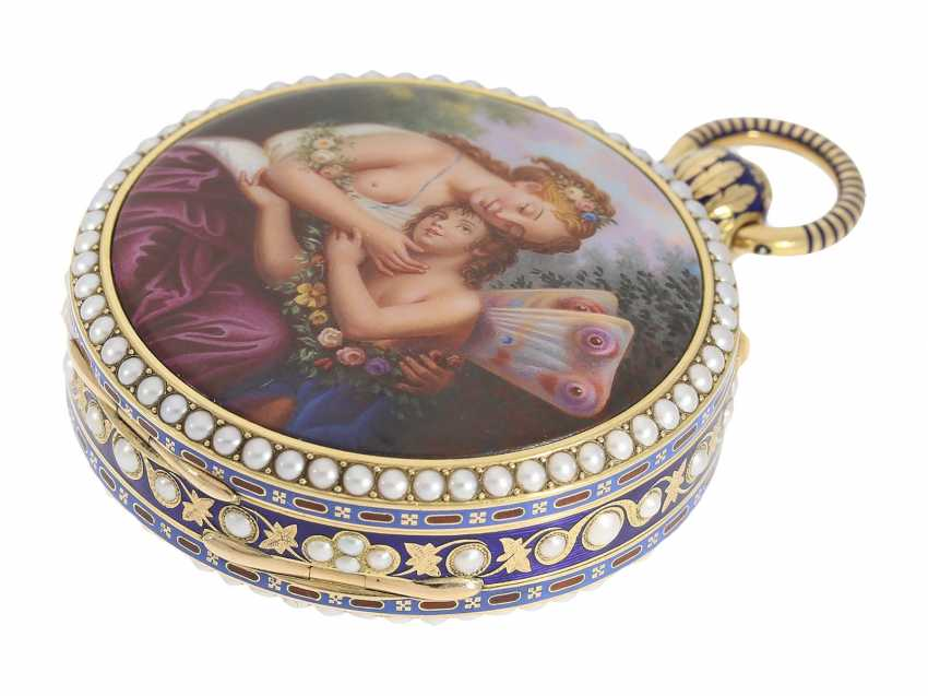 Pocket watch: extremely precious Gold/enamel pocket watch, with beads appliqué, music, figure, machine, hidden erotic scene, and Central second, probably Piguet & Meylan, Geneva for the Chinese market, CA. 1810 - photo 5