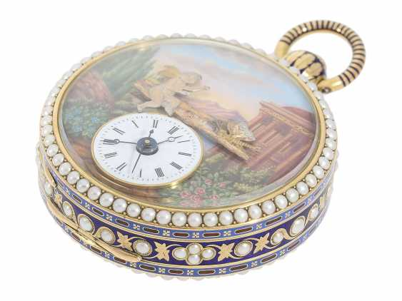 Pocket watch: extremely precious Gold/enamel pocket watch, with beads appliqué, music, figure, machine, hidden erotic scene, and Central second, probably Piguet & Meylan, Geneva for the Chinese market, CA. 1810 - photo 6