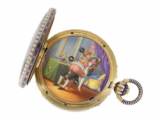 Pocket watch: extremely precious Gold/enamel pocket watch, with beads appliqué, music, figure, machine, hidden erotic scene, and Central second, probably Piguet & Meylan, Geneva for the Chinese market, CA. 1810 - photo 9