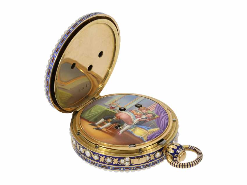 Pocket watch: extremely precious Gold/enamel pocket watch, with beads appliqué, music, figure, machine, hidden erotic scene, and Central second, probably Piguet & Meylan, Geneva for the Chinese market, CA. 1810 - photo 10