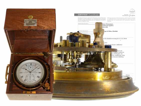 """Marine chronometer: absolute glashütte rarity, 1 of only 46 of A. Lange & Söhne-made """"star time"""" Marine chronometers, No. 465, Glashütte 1923, with the master excerpt from the book - photo 1"""