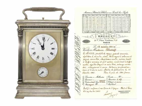 Timepiece: an extremely rare, highly complicated timepiece with silver casing, Grande & Petite Sonnerie, Alarm, minute repeater, Breguet No. 4315, Paris, 1882, with a Breguet certificate - photo 1