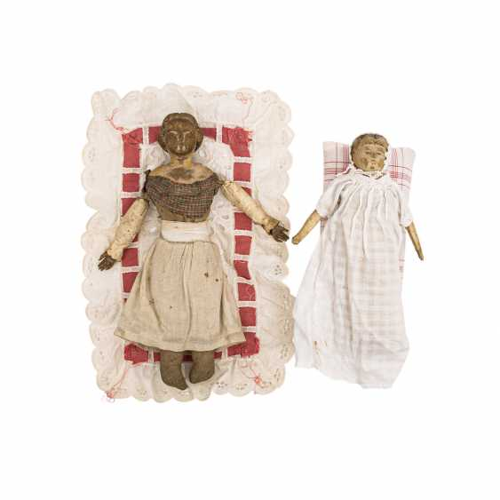 Well Val GARDENA, two wooden dolls, 1 h. 19. Century - photo 1
