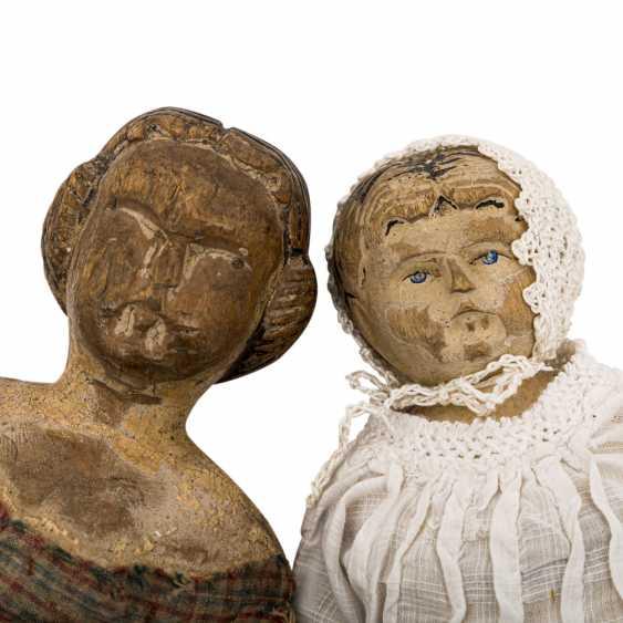 Well Val GARDENA, two wooden dolls, 1 h. 19. Century - photo 2