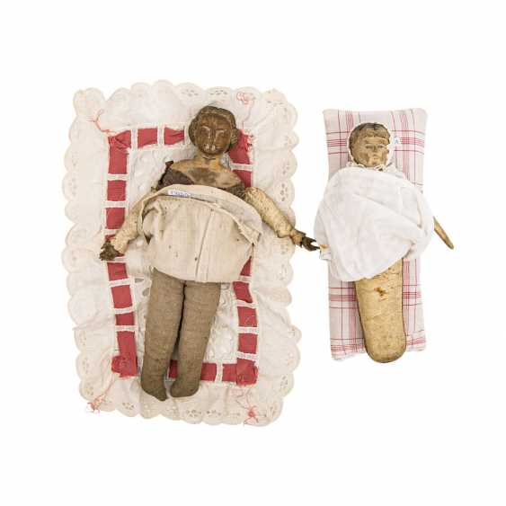 Well Val GARDENA, two wooden dolls, 1 h. 19. Century - photo 3