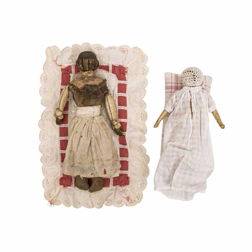 Well Val GARDENA, two wooden dolls, 1 h. 19. Century - photo 4