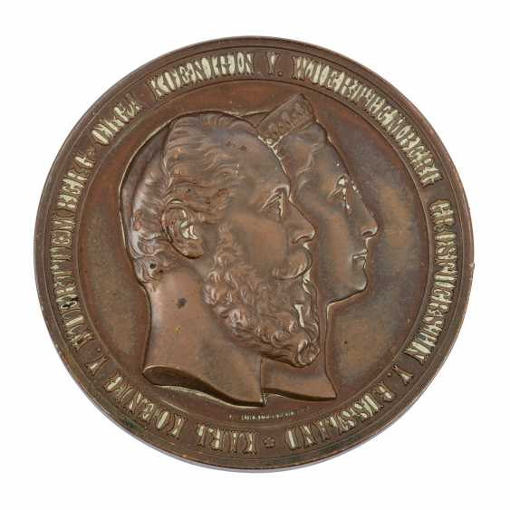 Württemberg - bronze medal in 1871, Karl and Olga of Württemberg, - photo 1
