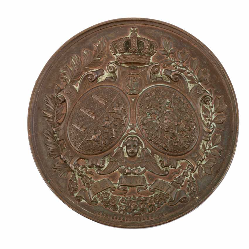 Württemberg - bronze medal in 1871, Karl and Olga of Württemberg, - photo 2