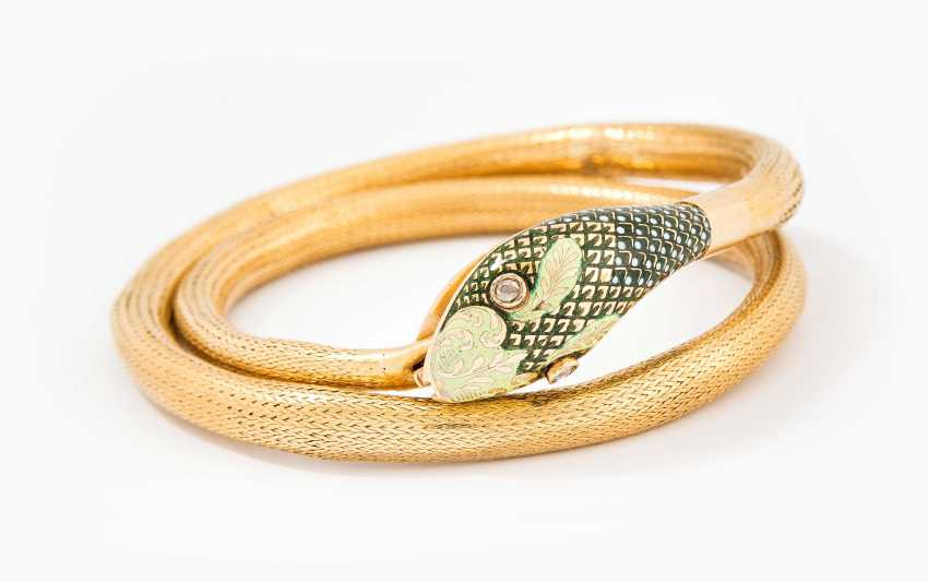 Enamel And Diamond Snake Bracelet - photo 1